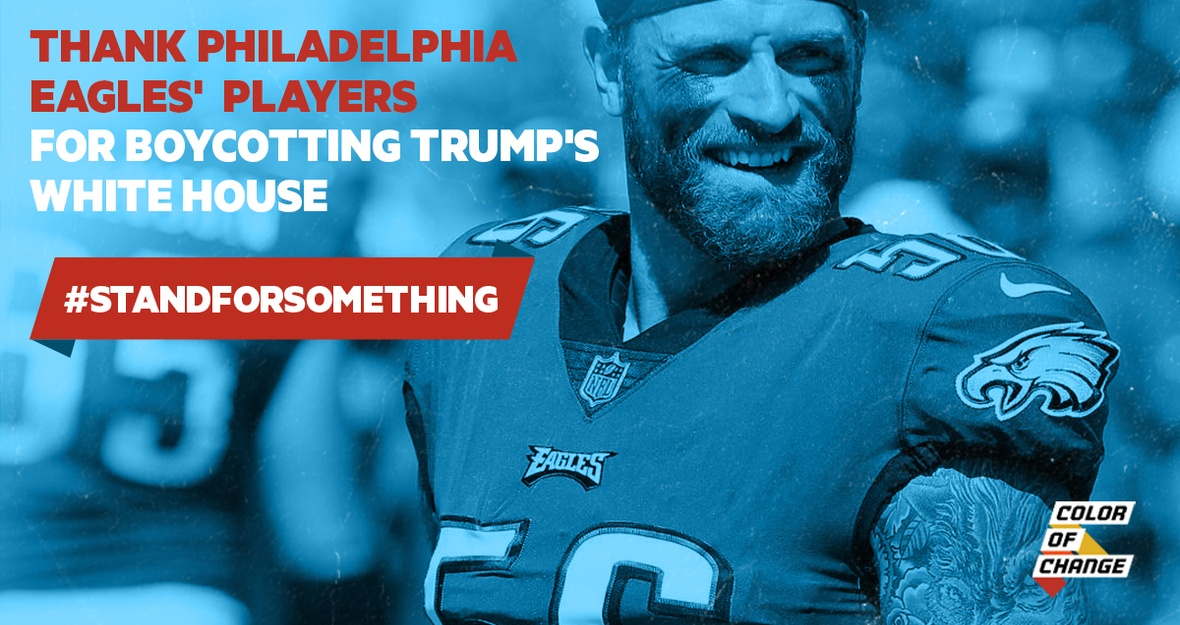Thank the Super Bowl champs standing up to Trump