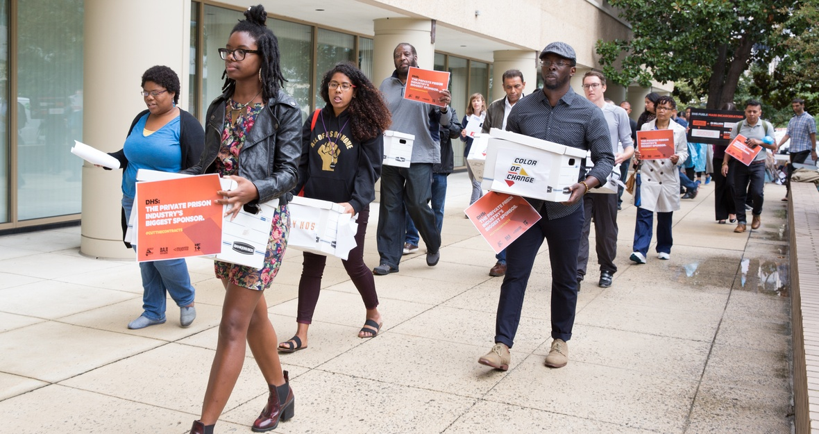 Color Of Change Leads Delivery of Private Prison Divestment Petition to DHS
